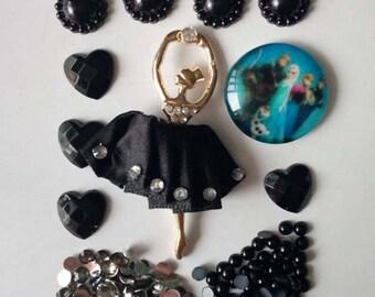 Lady Frozen Ballerina  Dancer flatbacks mix pearls gems cabachon card making scrap booking