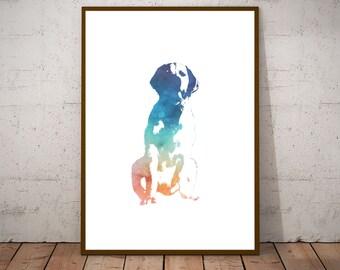 Golden Retriever Dog Print - Printable Pet Art - Dog Watercolor - Puppy Gift - Rainbow Watercolor - Dog Nursery Decor - Animal Art - A2