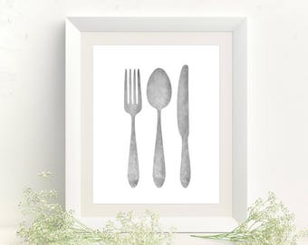 Kitchen Decor - Kitchen Wall Art - Dining Room Decor - Kitchen Art - Home Decor - Kitchen Print - Silverware Art - Modern Kitchen Printable