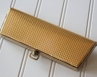 Vintage 1960s Textured Gold Cateye Eyeglasses Case
