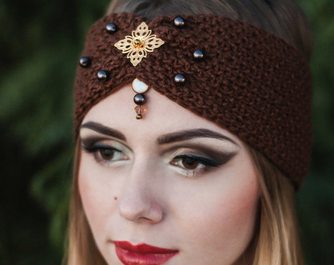 Dark brown gold rose accent warm knitted Headband brown pearl Christmas gift ideas winter earwarmer Chunky gift girly turban