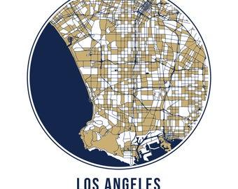 Los Angeles Football - Community Color Map - Poster Print Wall Art- Neighborhood Fan