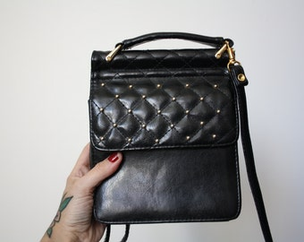 vintage leather purse | black leather bag | vintage shoulder bag | leather cross body bag | biker purse | minimalist leather purse |