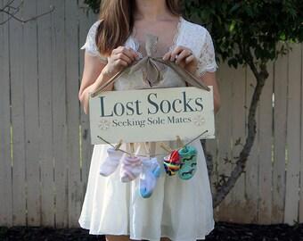 Lost Socks Seeking Sole Mates Laundry Wood Sign