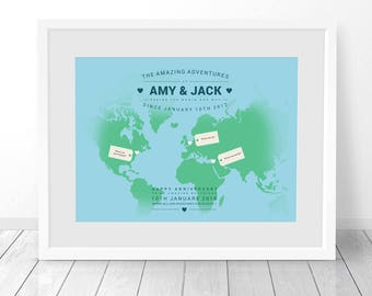 Where we've been map, Personalised world map, Custom travel print, Where we met map, Places I've been map, 1st anniversary, birthday, unique