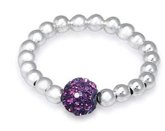 Sterling Silver Stretch Ring - Purple Shamballa