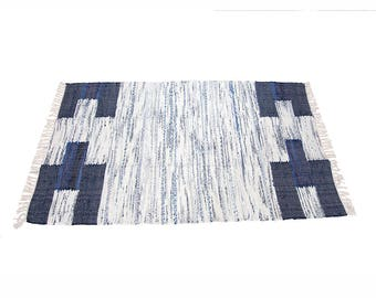Handmade Cotton Fabric Rug in Navy Sides Light 90x150cm 3ft x 5ft - 30%off