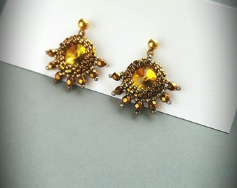 Beaded Swarovski Rivoli Crystal Earrings