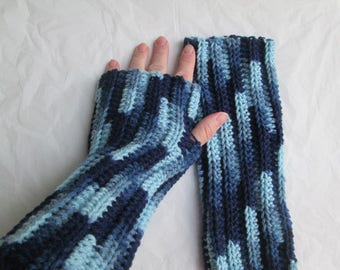 Blue arm warmers, denim mitts, variegated wrist warmers, fingerless gloves, winter accessories
