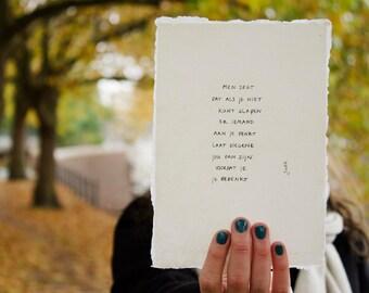 sleep   poem on cotton paper