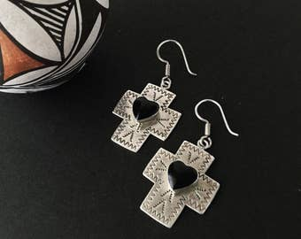 SALE!!  Mexico Vintage Hand Stamped Signed 925 Sterling Silver Cross and Onyx Heart Cabachon Earrings