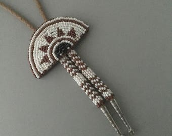 Vintage Native American Hand Sewn Beaded Sliding Mask Bolo Tie with Beaded Tips