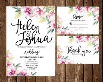 Printable Floral Wedding Invitation, Flower Wedding Invitation, Magnolia Printable Wedding Invitation, watercolor magnolia RSVP, thank you