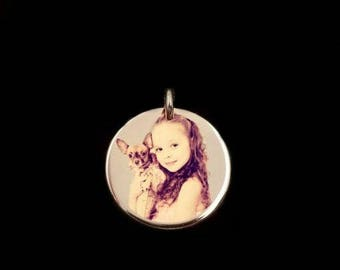 CHARMS OF ENDEARMENT, rose gold disc, charm, rose gold charm, rose gold photo charm, rose gold pendant