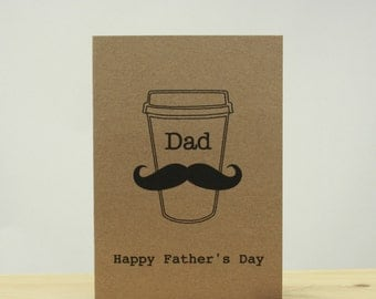 Coffee Cup Moustache Father's Day Card