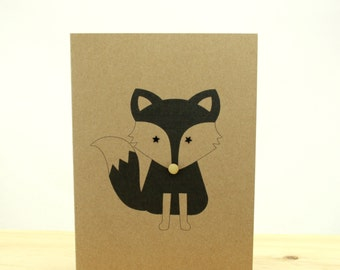 Monochrome Fox Card