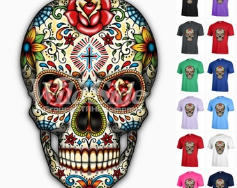 sugar skull roses cross funny graphic day of dead t shirt adult a56