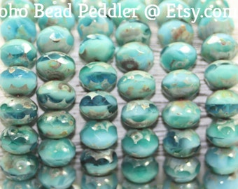 Czech Glass Beads, Rondells 8x6mm, Picasso Finish, 25 Beads