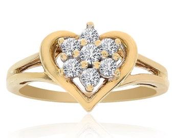 0.20 Carat Round Cut Diamond Heart Cluster Ring 10K Yellow Gold