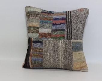 anatolian turkish kilim pillow 20x20 vintage decorative kilim pillow throw pillow patchwork kilim pillow sofa pillow SP5050-1057
