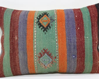 Handwoven Kilim Pillow Throw Pillow Ethnic Pillow Case 16x24 Bohemian Kilim Pillow Striped Pillow Cushion Cover Floor Pillow SP4060-532