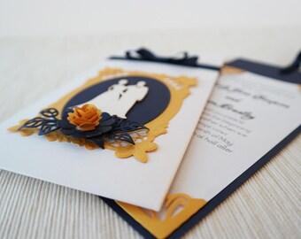 Royal Blue Wedding Invitation, Winter Wedding Invitation, Pocket Wedding Invitation, Luxury Gold Invite, Frosted White Wedding Invite