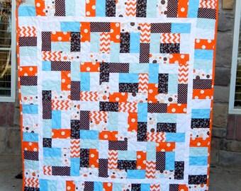 Modern Baby Quilt, Baby Blanket, Crib Quilt, Baby Boy Quilt, Orange Baby Quilt, Blue Baby Quilt, Polka Dots, Handmade Quilt