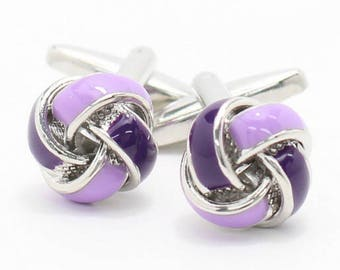 Purple Knot Cufflink -k169 Free Gift Box**