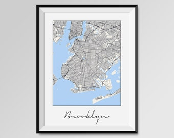 BROOKLYN Map Print, Modern City Poster, Black and White Minimal Wall Art for the Home Decor