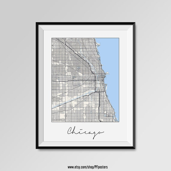 Chicago map print modern city poster black and white minimal Home decor stores utah county