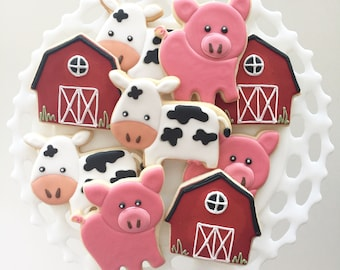 Barnyard Cookies, Farm Cookies, Pig Cookies, Cow Cookies, Farm Animal Cookies,Party Favors, Treat Bags, Birthday Cookies, Barnyard Animals