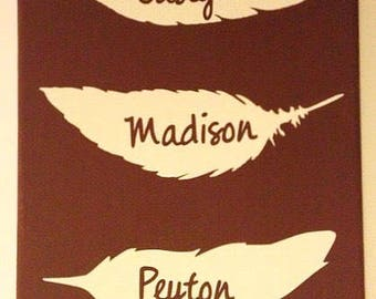 Family Feather Art Children Names