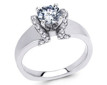 White Yellow or Rose Gold Engagement Ring .20ct Round Diamonds Semi Mount for 1.0 ct Center Adjustable New 14K Setting Only or Moissanite