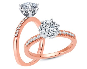 White Yellow or Rose Gold Engagement Ring Crown Head Two Tone .12ct Round Diamonds Semi Mount for 1.0 ct Center Adjustable New 14K Setting