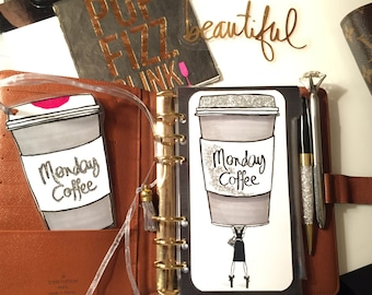 Monday Coffee Dashboard Tab Laminate & Bookmark- GM, MM, PM