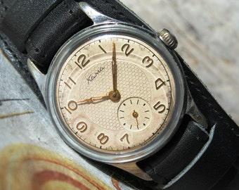 Rare Vintage Men's Watch KAMA-16 Jewels 1950's, USSR Wrist Watch, Mechanical Watch, Leather Watch, Soviet Watch, Wostok Watch, Gift for him