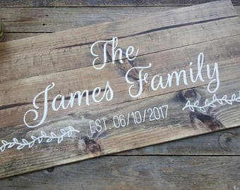 Giant Framed Family Name Signs, Extra Large Signs, Wedding Signs, Personalized Family Name Sign, Housewarming Gift, Wood, Modern Calligraphy
