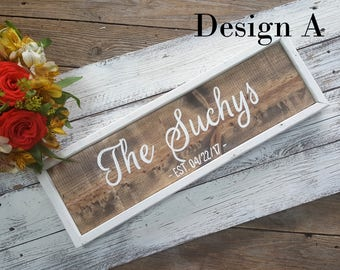 Framed Family Name Signs, Established Signs, Wedding Signs, Personalized Family Name Sign, Housewarming Gift, Wood, Modern Calligraphy