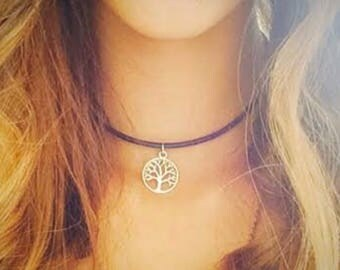 """Silver Tree of Life Charm on a Black 18"""" Cord"""