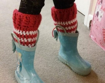 Hand made crocheted wool LEG WARMERS or wellie welly warmers. keep warm this winter with crochet. Ideal for using in a baby sling