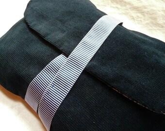 Reversible sleeve velvet Navy Blue and flowered white on blue by AUNT CATH