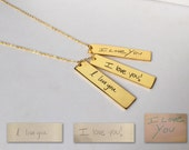 Rose Gold Plated/ Gold Plated Custom Handwriting Necklace with Tag - Custom Handwriting Jewelry - Signature Jewelry - Handwritten Necklace