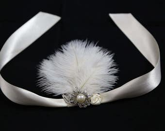 Ostrich Feather Wristlet Corsage, 20's Feather Wristlet, Great Gatsby for Mother or Child or Bridesmaid
