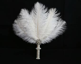 Ostrich Feather Fan w/ Pearls & Embellishments, 20's Feather Fan, Great Gatsby for Bride or Bridesmaids