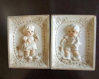 Vintage Giftcraft Chalkware Boy and Girl