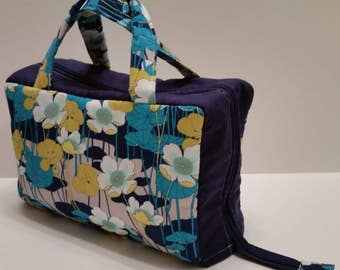 Floral Lunch Tote Opening Into a Tray.