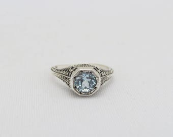 Vintage Sterling Silver Natural Aquamarine Filigree Ring Size 7