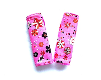 Cindy Cover - Pink Car Seat Strap Covers , Girl Car Seat Strap Covers, Stroller Seat Strap Covers - Flannel Car Seat Strap Covers