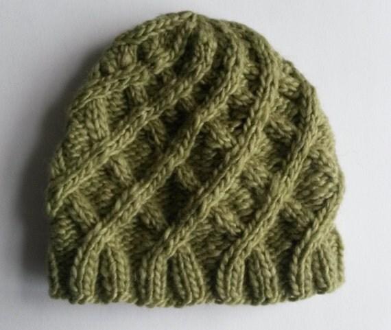 Aran Baby Hat: handknit baby beanie in luxury silk/cashmere Noro yarn. Made in Ireland. 3-6 month size. Original design. Baby shower gift.