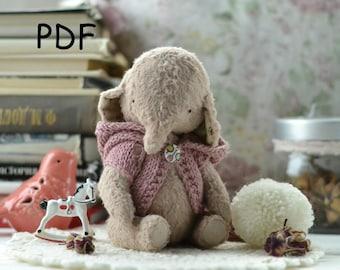 Pattern Teddy elephant, teddy elephant 6.7 inch, sewing tutorial,pattern teddy, pattern toy, Artist Teddy Bear